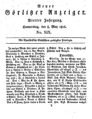 Neuer Görlitzer Anzeiger vom 08.05.1806