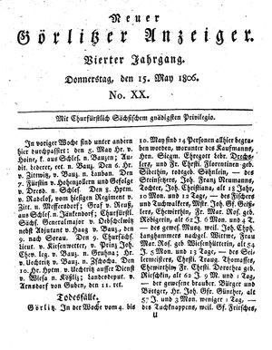 Neuer Görlitzer Anzeiger vom 15.05.1806