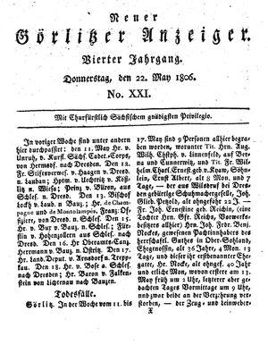 Neuer Görlitzer Anzeiger vom 22.05.1806