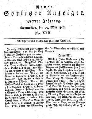 Neuer Görlitzer Anzeiger vom 29.05.1806