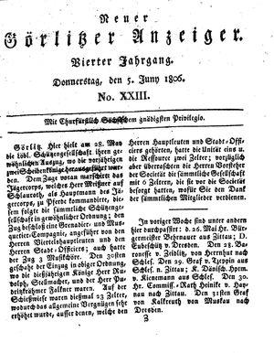 Neuer Görlitzer Anzeiger vom 05.06.1806