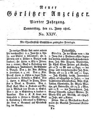 Neuer Görlitzer Anzeiger vom 12.06.1806