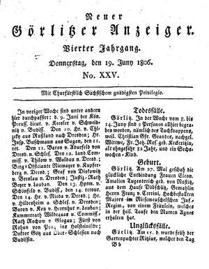 Neuer Görlitzer Anzeiger vom 19.06.1806