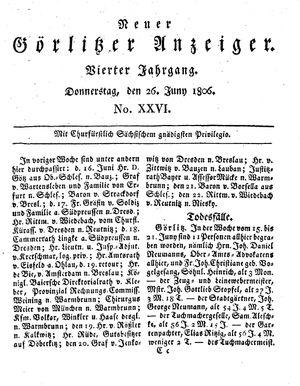 Neuer Görlitzer Anzeiger vom 26.06.1806