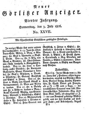 Neuer Görlitzer Anzeiger vom 03.07.1806