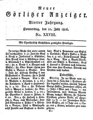 Neuer Görlitzer Anzeiger vom 10.07.1806