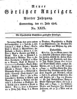 Neuer Görlitzer Anzeiger on Jul 17, 1806