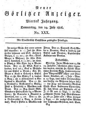 Neuer Görlitzer Anzeiger vom 24.07.1806