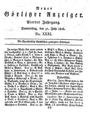 Neuer Görlitzer Anzeiger vom 31.07.1806