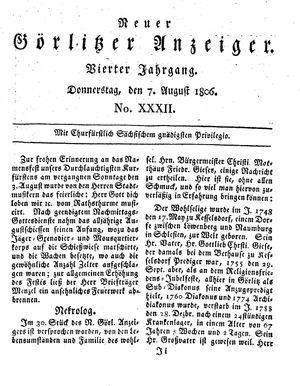 Neuer Görlitzer Anzeiger vom 07.08.1806