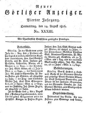 Neuer Görlitzer Anzeiger vom 14.08.1806
