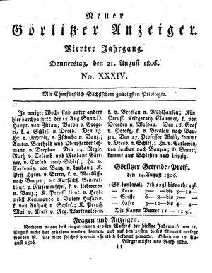 Neuer Görlitzer Anzeiger on Aug 21, 1806