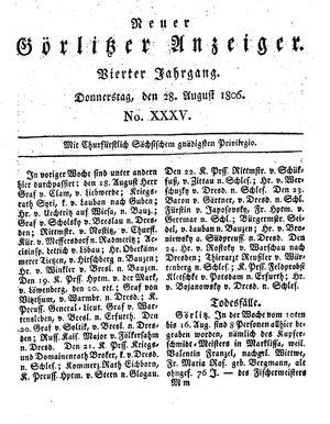 Neuer Görlitzer Anzeiger vom 28.08.1806