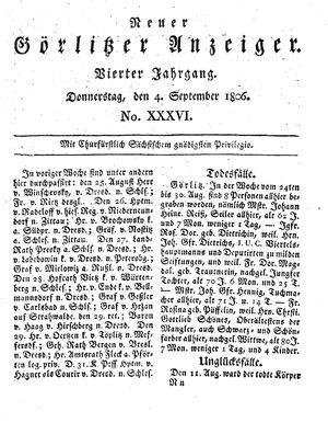 Neuer Görlitzer Anzeiger vom 04.09.1806