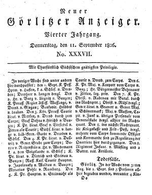 Neuer Görlitzer Anzeiger on Sep 11, 1806
