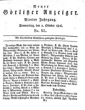 Neuer Görlitzer Anzeiger vom 02.10.1806