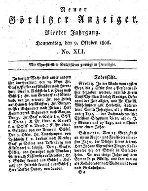 Neuer Görlitzer Anzeiger vom 09.10.1806