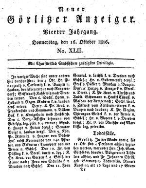 Neuer Görlitzer Anzeiger vom 16.10.1806