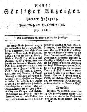 Neuer Görlitzer Anzeiger vom 23.10.1806