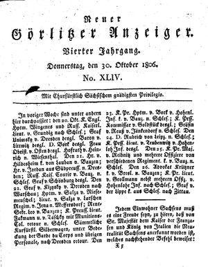 Neuer Görlitzer Anzeiger vom 30.10.1806