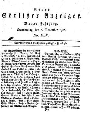 Neuer Görlitzer Anzeiger vom 06.11.1806