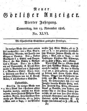 Neuer Görlitzer Anzeiger vom 13.11.1806