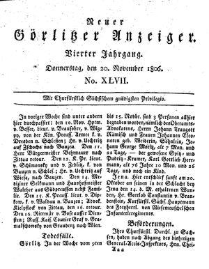 Neuer Görlitzer Anzeiger vom 20.11.1806