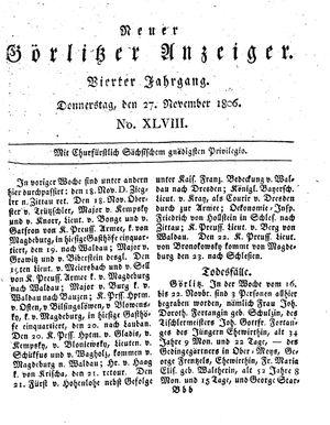 Neuer Görlitzer Anzeiger vom 27.11.1806