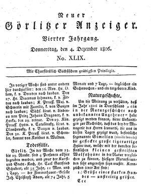 Neuer Görlitzer Anzeiger vom 04.12.1806