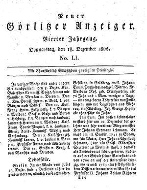 Neuer Görlitzer Anzeiger vom 18.12.1806