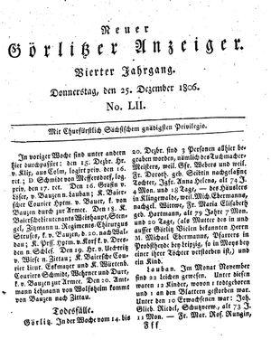 Neuer Görlitzer Anzeiger vom 25.12.1806