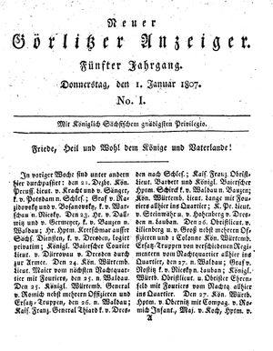 Neuer Görlitzer Anzeiger vom 01.01.1807