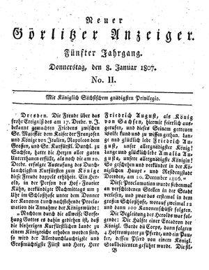 Neuer Görlitzer Anzeiger vom 08.01.1807