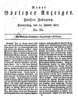Neuer Görlitzer Anzeiger vom 15.01.1807