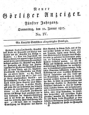 Neuer Görlitzer Anzeiger vom 22.01.1807