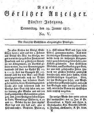 Neuer Görlitzer Anzeiger vom 29.01.1807