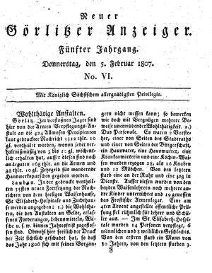 Neuer Görlitzer Anzeiger vom 05.02.1807