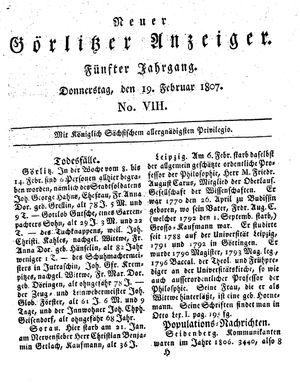 Neuer Görlitzer Anzeiger vom 19.02.1807