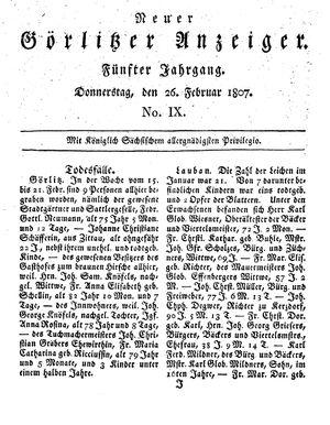 Neuer Görlitzer Anzeiger vom 26.02.1807