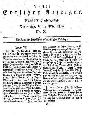 Neuer Görlitzer Anzeiger vom 05.03.1807