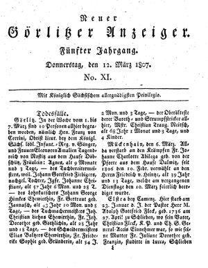 Neuer Görlitzer Anzeiger vom 12.03.1807