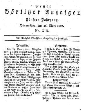 Neuer Görlitzer Anzeiger on Mar 26, 1807