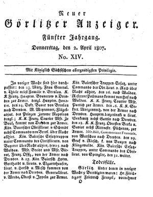 Neuer Görlitzer Anzeiger vom 02.04.1807