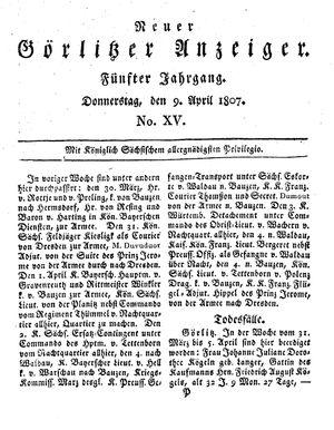 Neuer Görlitzer Anzeiger vom 09.04.1807