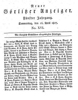 Neuer Görlitzer Anzeiger vom 16.04.1807