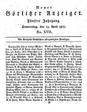 Neuer Görlitzer Anzeiger vom 23.04.1807