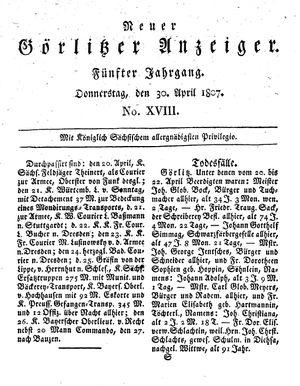 Neuer Görlitzer Anzeiger vom 30.04.1807