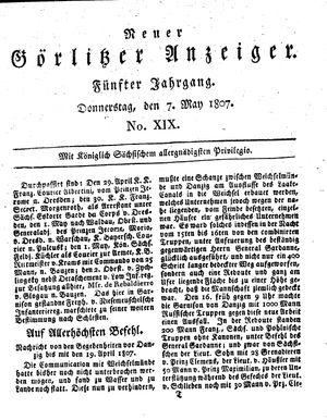 Neuer Görlitzer Anzeiger vom 07.05.1807
