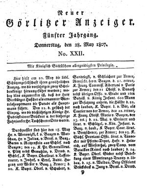 Neuer Görlitzer Anzeiger vom 28.05.1807