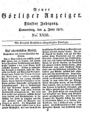 Neuer Görlitzer Anzeiger vom 04.06.1807